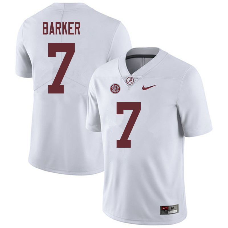 Men #7 Braxton Barker Alabama Crimson Tide College Football Jerseys Sale-White