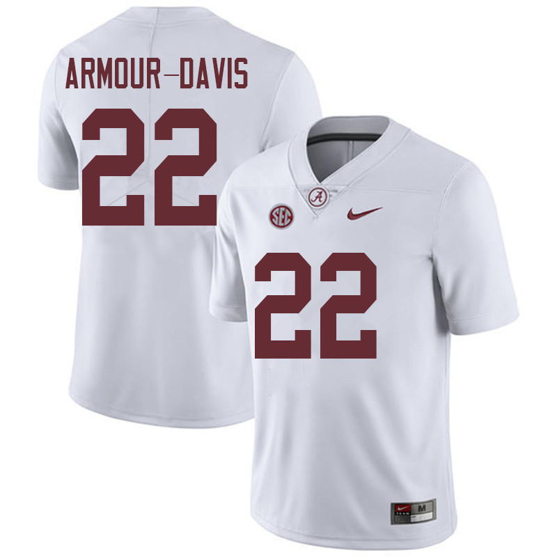 Men #22 Jalyn Armour-Davis Alabama Crimson Tide College Football Jerseys Sale-White