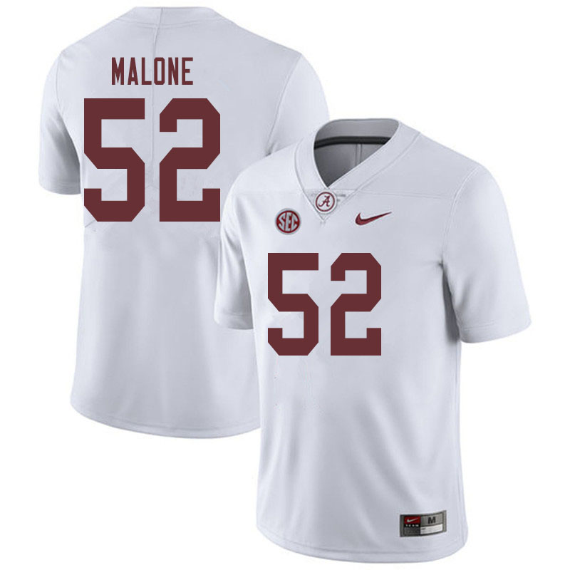 Men #52 Preston Malone Alabama Crimson Tide College Football Jerseys Sale-White