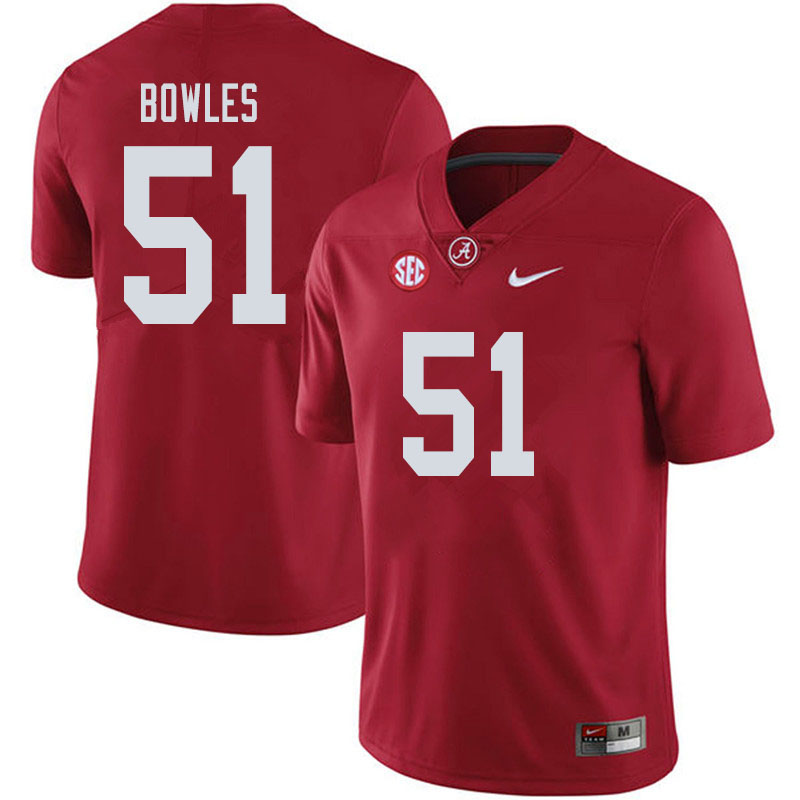 Men #51 Tanner Bowles Alabama Crimson Tide College Football Jerseys Sale-Crimson