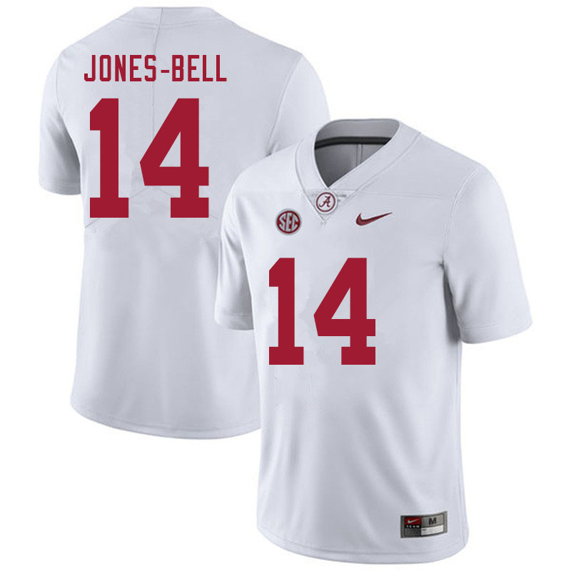 Men #14 Thaiu Jones-Bell Alabama White Tide College Football Jerseys Sale-White