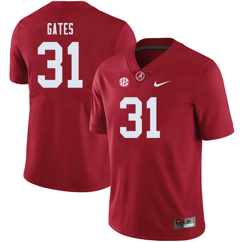 Men #31 A.J. Gates Alabama Crimson Tide College Football Jerseys Sale-Crimson