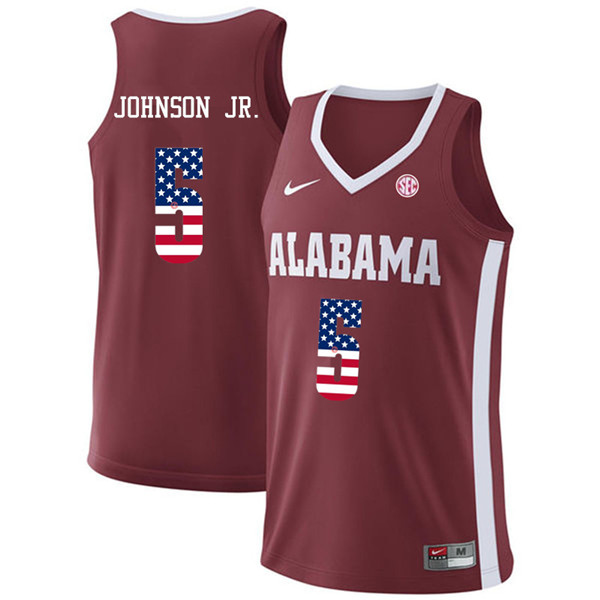 Men #5 Avery Johnson Jr. Alabama Crimson Tide USA Flag Fashion College Basketball Jerseys-Crimson