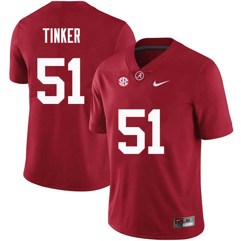 Men #51 Carson Tinker Alabama Crimson Tide College Football Jerseys Sale-Crimson