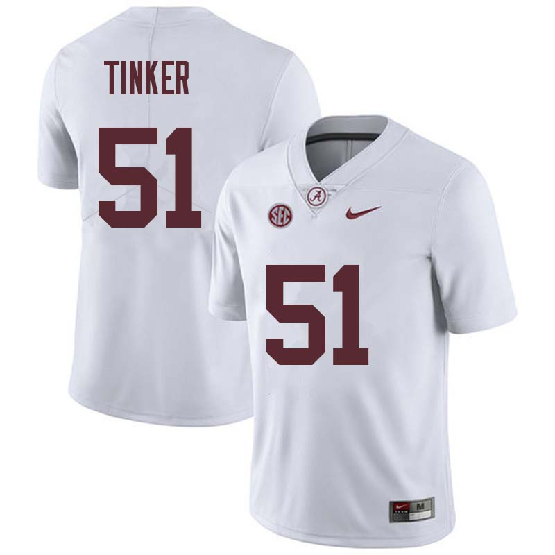 Men #51 Carson Tinker Alabama Crimson Tide College Football Jerseys Sale-White
