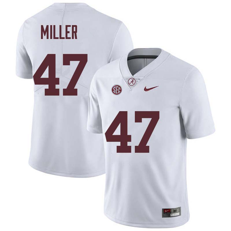 Men #47 Christian Miller Alabama Crimson Tide College Football Jerseys Sale-White
