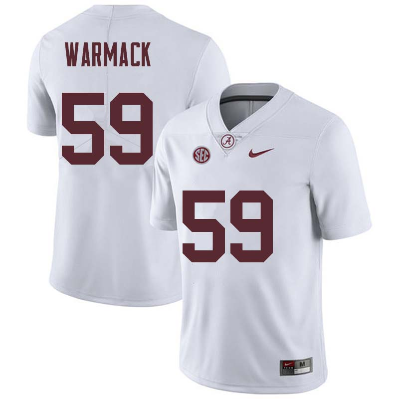Men #59 Dallas Warmack Alabama Crimson Tide College Football Jerseys Sale-White