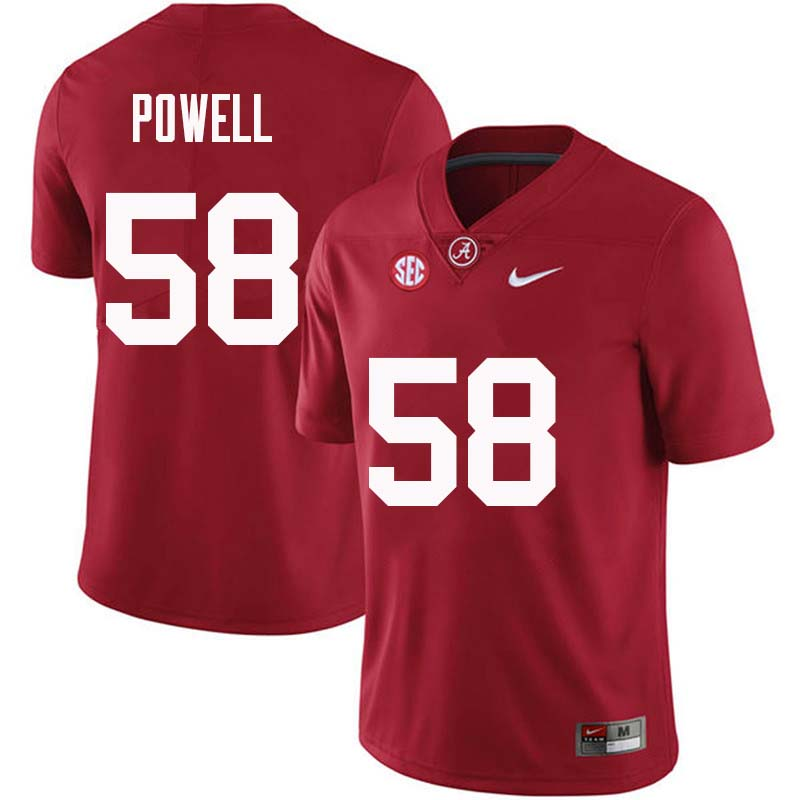 Men #58 Daniel Powell Alabama Crimson Tide College Football Jerseys Sale-Crimson