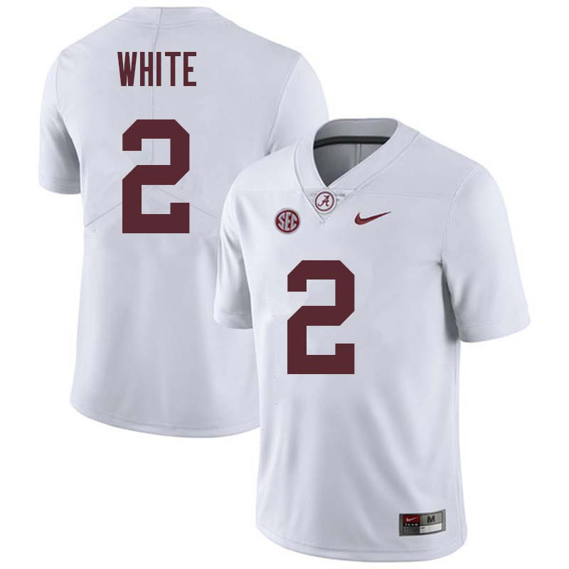 Men #2 DeAndrew White Alabama Crimson Tide College Football Jerseys Sale-White