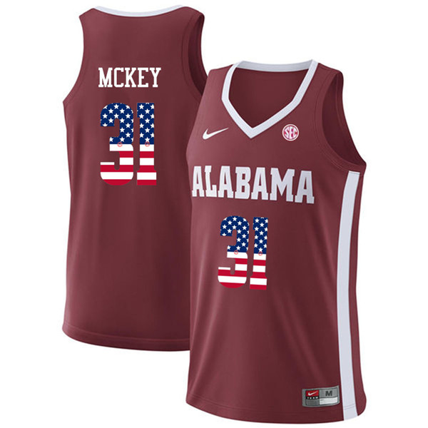 Men #31 Derrick McKey Alabama Crimson Tide USA Flag Fashion College Basketball Jerseys-Crimson