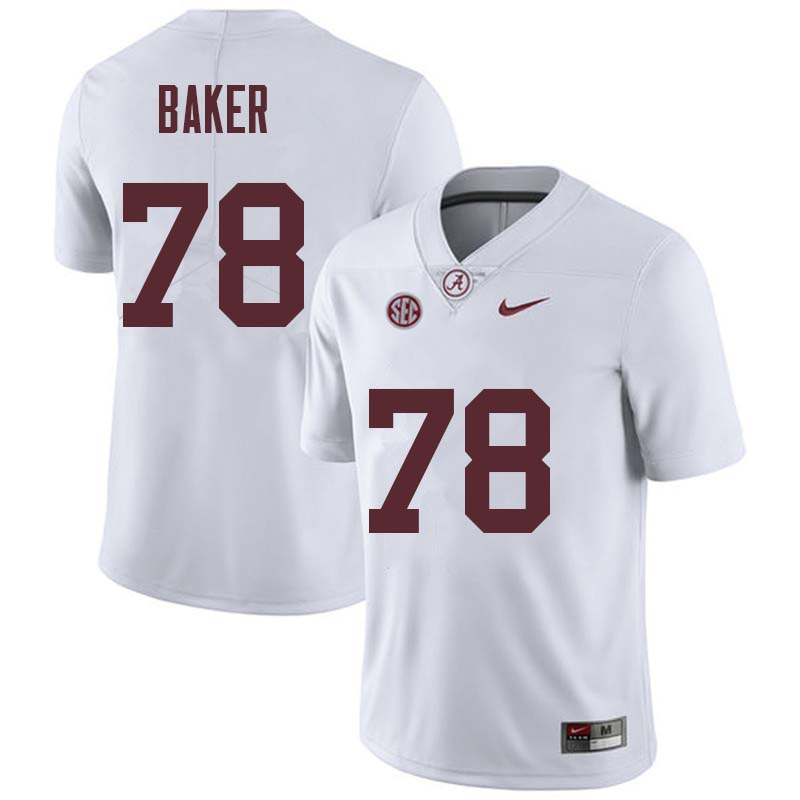 Men #78 Elliot Baker Alabama Crimson Tide College Football Jerseys Sale-White