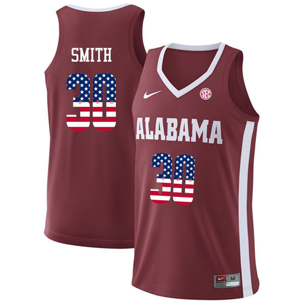 Men #30 Galin Smith Alabama Crimson Tide USA Flag Fashion College Basketball Jerseys-Crimson