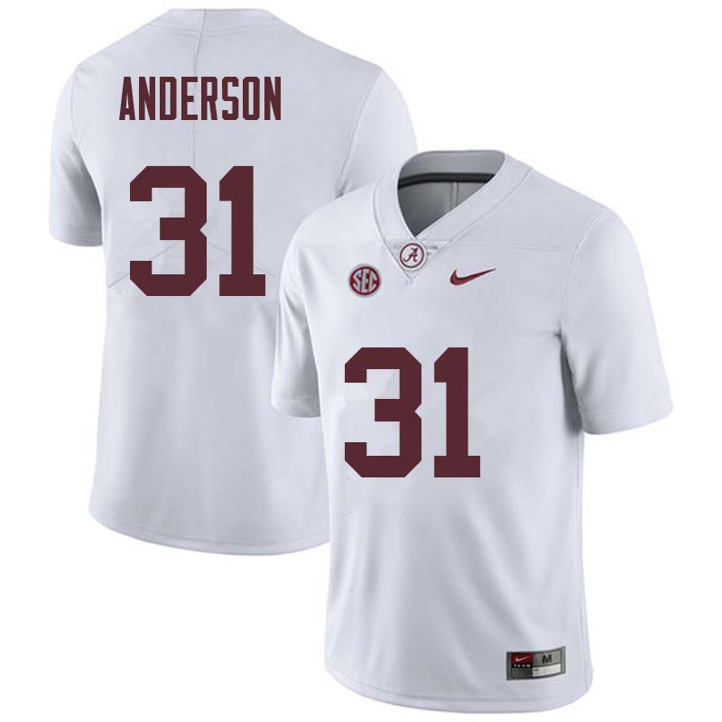 Men #31 Keaton Anderson Alabama Crimson Tide College Football Jerseys Sale-White