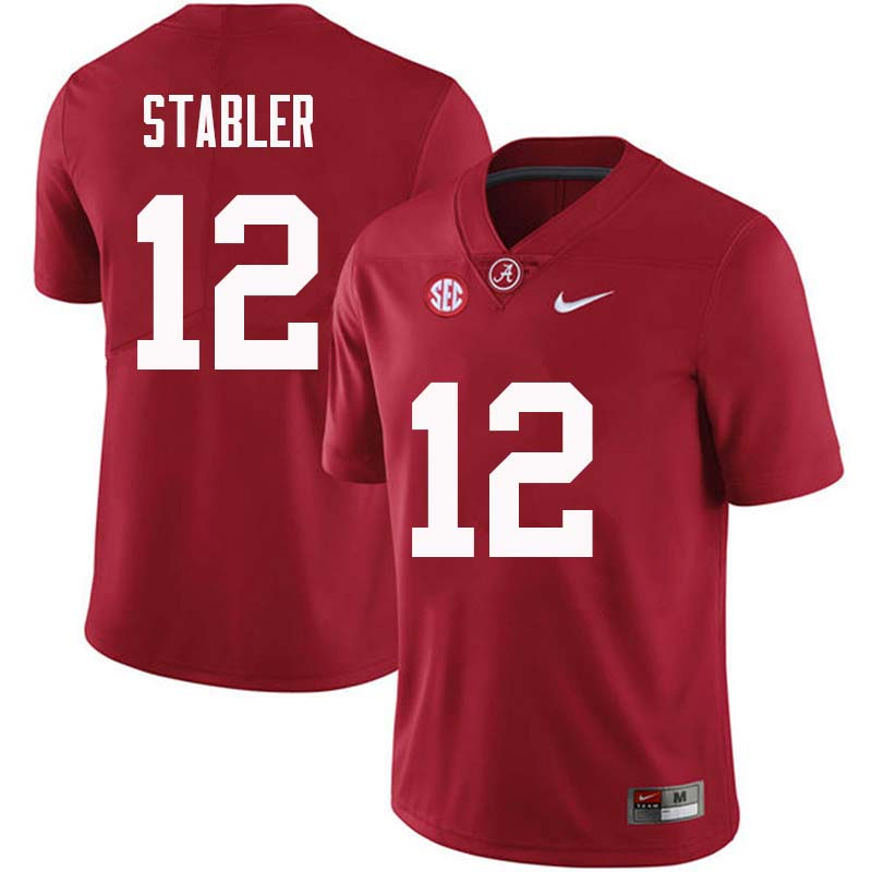 Men #12 Ken Stabler Alabama Crimson Tide College Football Jerseys Sale-Crimson