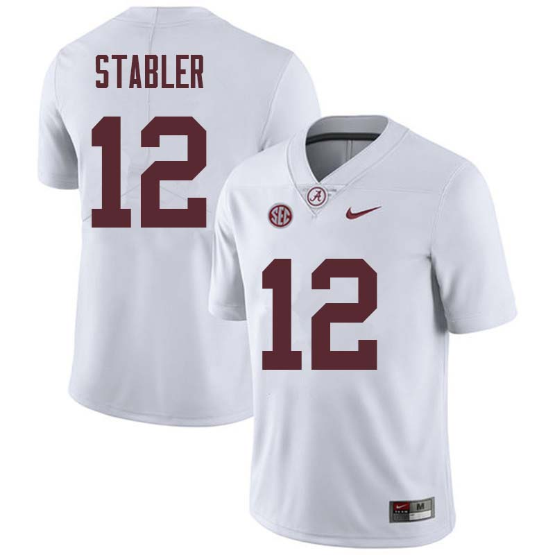Men #12 Ken Stabler Alabama Crimson Tide College Football Jerseys Sale-White