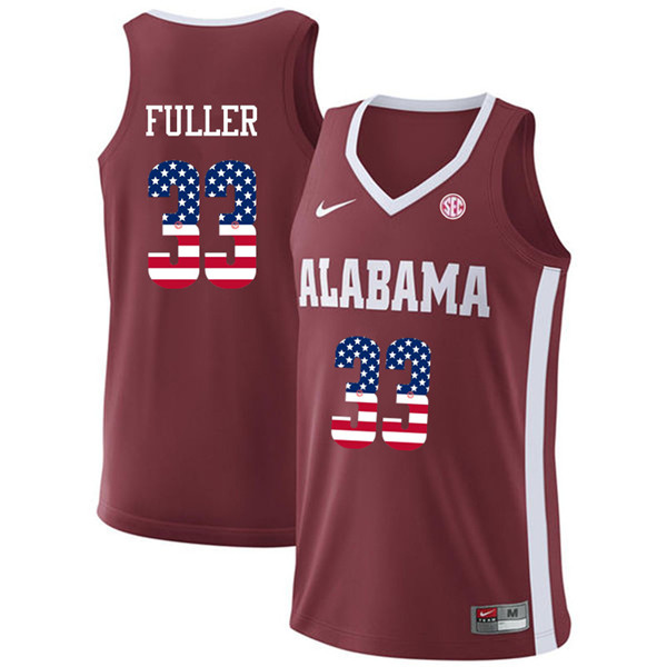Men #33 Landon Fuller Alabama Crimson Tide USA Flag Fashion College Basketball Jerseys-Crimson