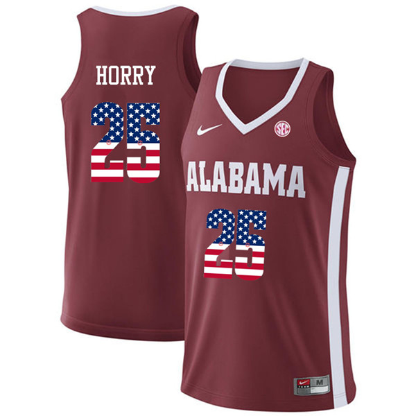 Men #25 Robert Horry Alabama Crimson Tide USA Flag Fashion College Basketball Jerseys-Crimson