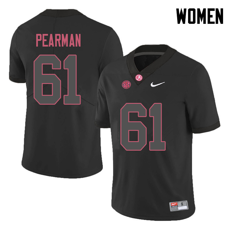 Women #61 Alex Pearman Alabama Crimson Tide College Football Jerseys Sale-Black