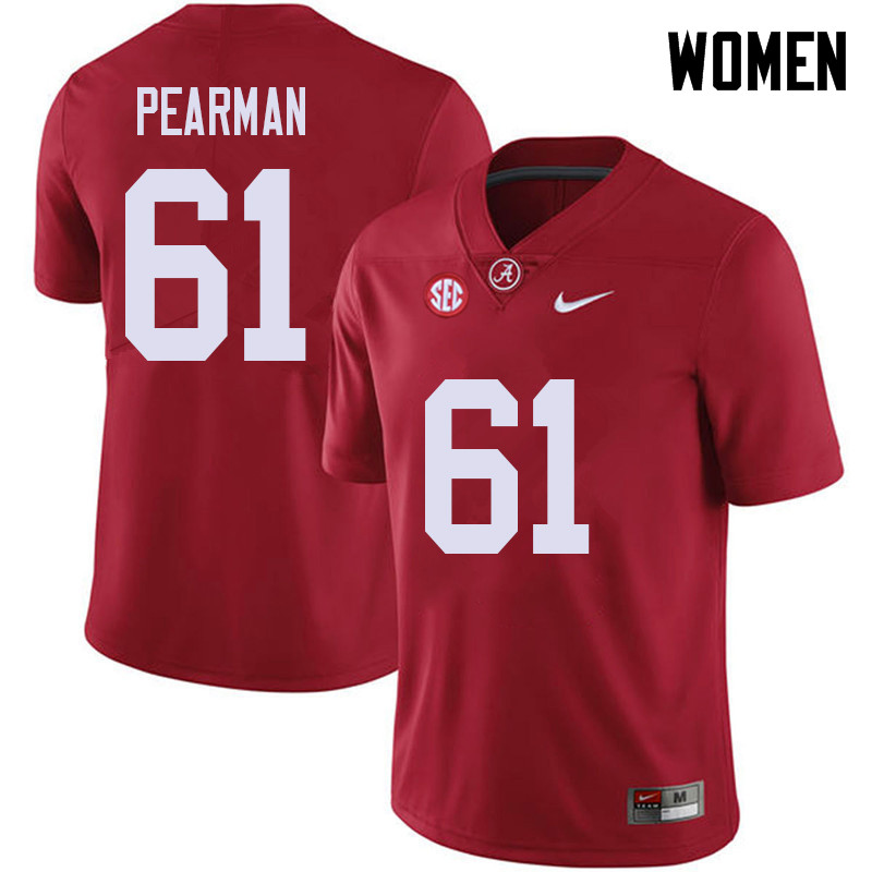 Women #61 Alex Pearman Alabama Crimson Tide College Football Jerseys Sale-Red
