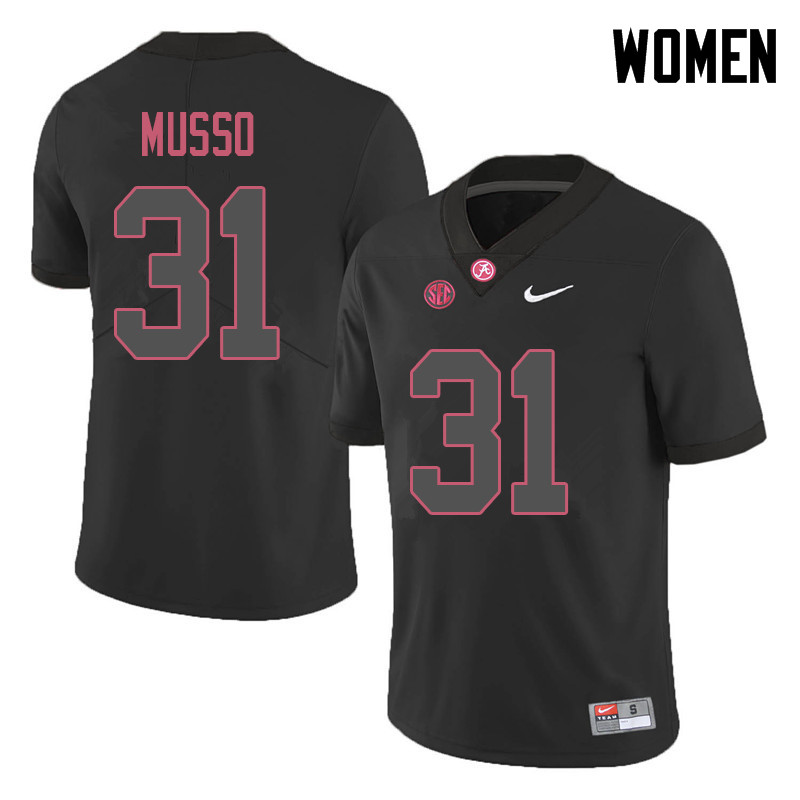 Women #31 Bryce Musso Alabama Crimson Tide College Football Jerseys Sale-Black