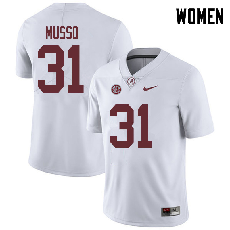 Women #31 Bryce Musso Alabama Crimson Tide College Football Jerseys Sale-White