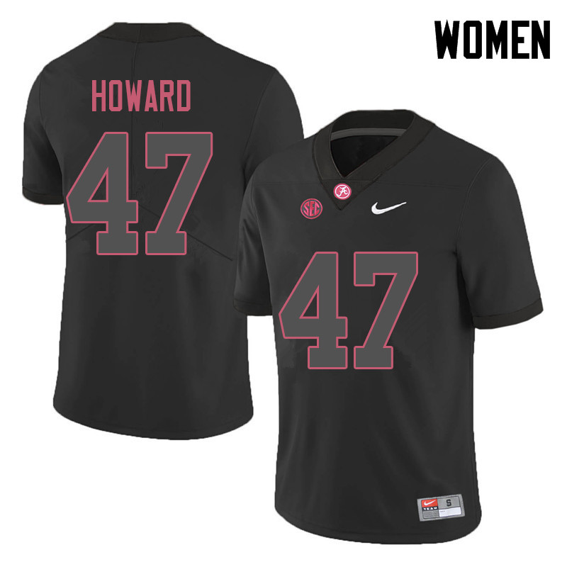 Women #47 Chris Howard Alabama Crimson Tide College Football Jerseys Sale-Black