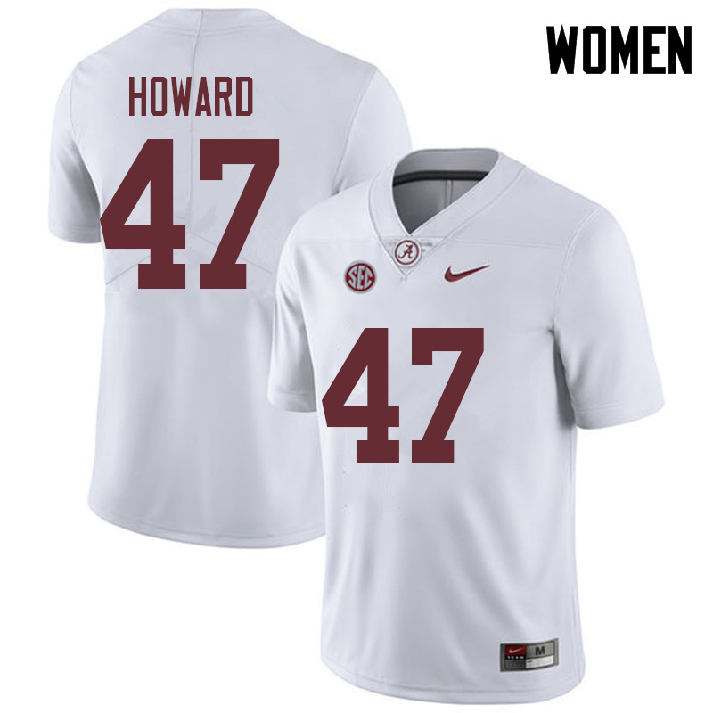 Women #47 Chris Howard Alabama Crimson Tide College Football Jerseys Sale-White