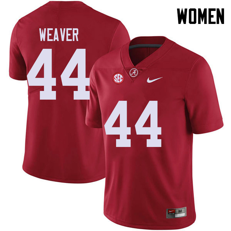 Women #44 Cole Weaver Alabama Crimson Tide College Football Jerseys Sale-Red