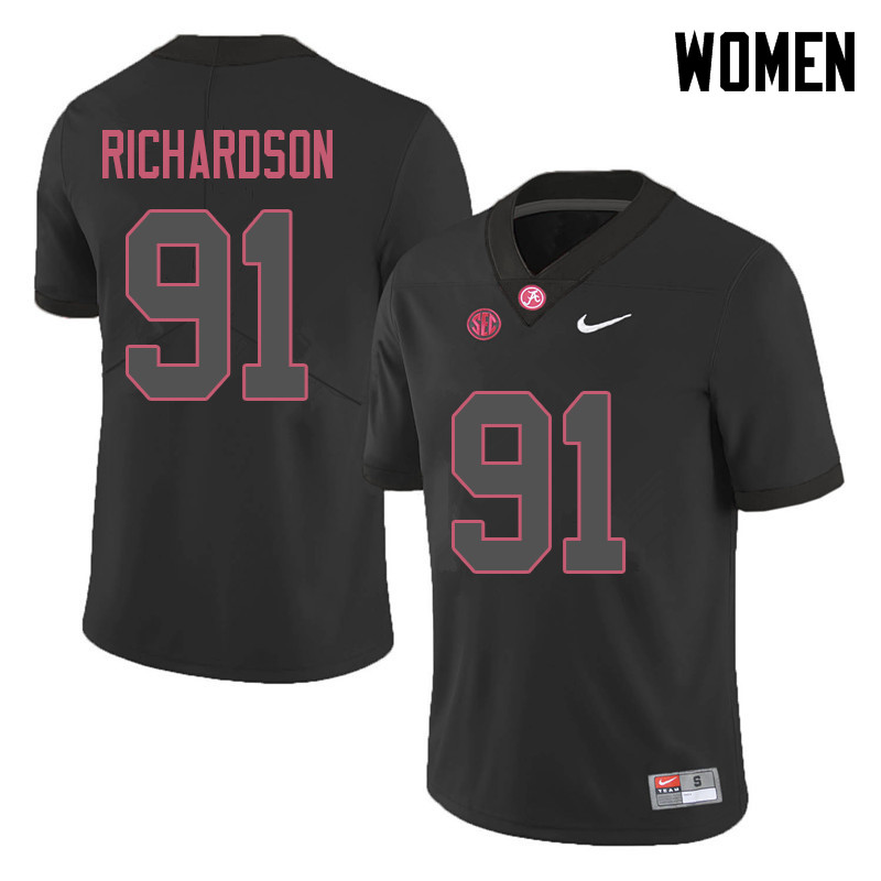 Women #91 Galen Richardson Alabama Crimson Tide College Football Jerseys Sale-Black