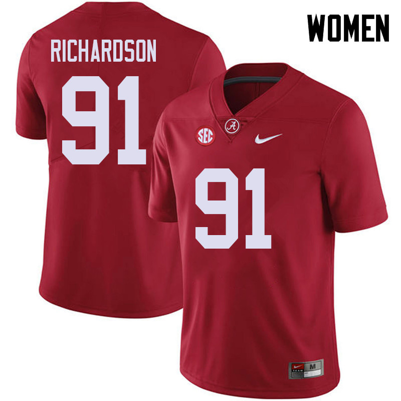 Women #91 Galen Richardson Alabama Crimson Tide College Football Jerseys Sale-Red
