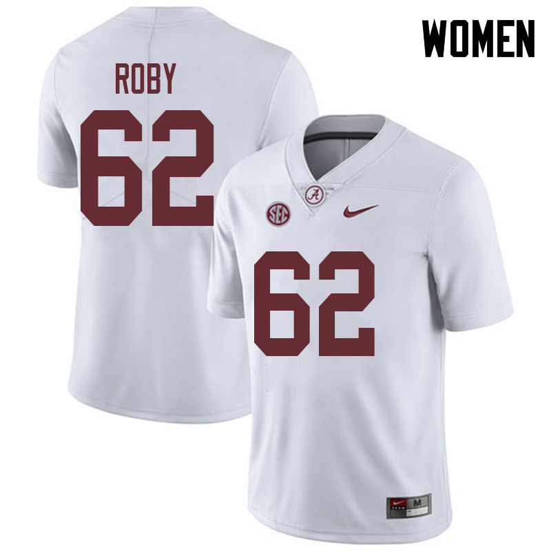 Women #62 Jackson Roby Alabama Crimson Tide College Football Jerseys Sale-White