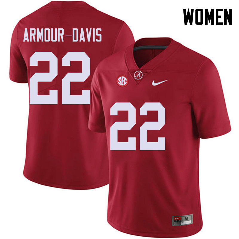 Women #22 Jalyn Armour-Davis Alabama Crimson Tide College Football Jerseys Sale-Red