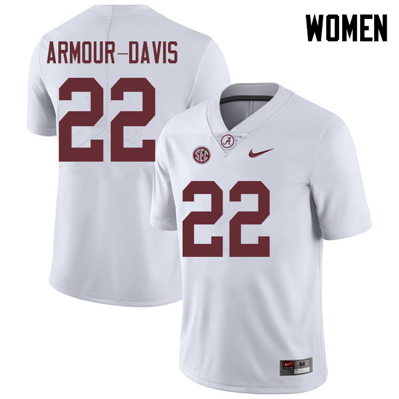 Women #22 Jalyn Armour-Davis Alabama Crimson Tide College Football Jerseys Sale-White