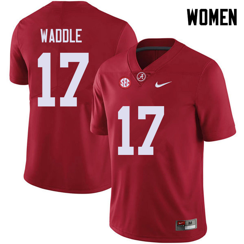 Women #17 Jaylen Waddle Alabama Crimson Tide College Football Jerseys Sale-Red