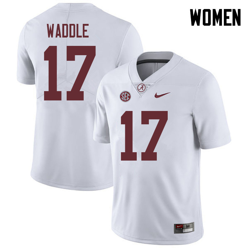 Women #17 Jaylen Waddle Alabama Crimson Tide College Football Jerseys Sale-White
