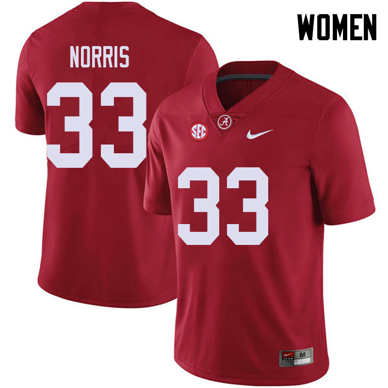 Women #33 Kendall Norris Alabama Crimson Tide College Football Jerseys Sale-Red