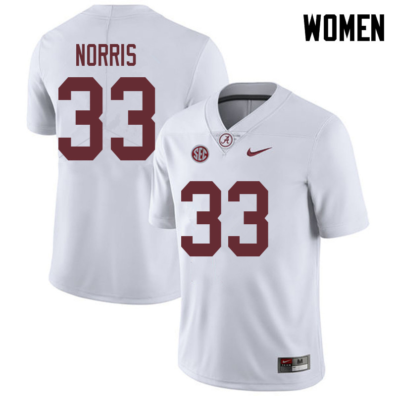Women #33 Kendall Norris Alabama Crimson Tide College Football Jerseys Sale-White