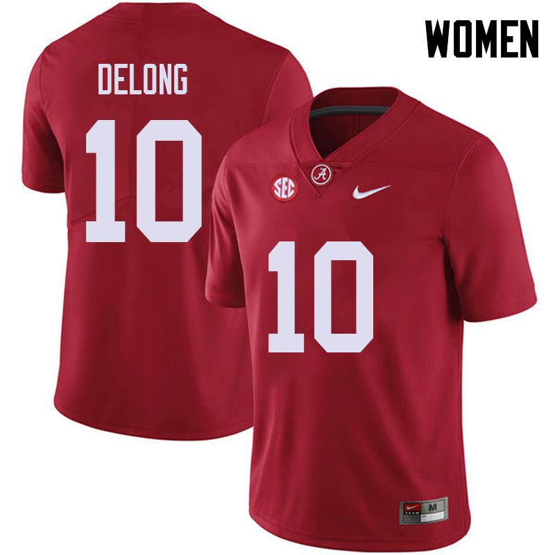Women #10 Skyler DeLong Alabama Crimson Tide College Football Jerseys Sale-Red