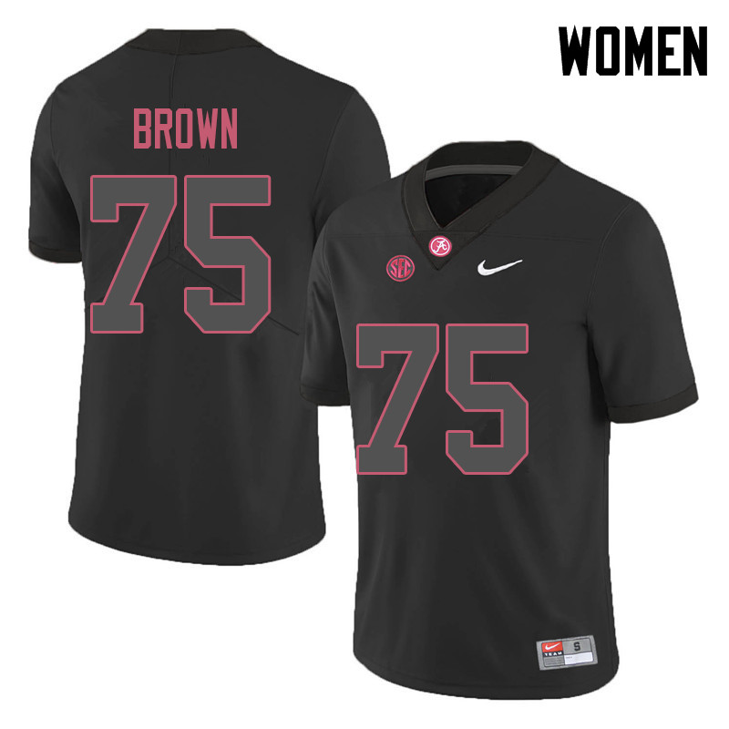 Women #75 Tommy Brown Alabama Crimson Tide College Football Jerseys Sale-Black
