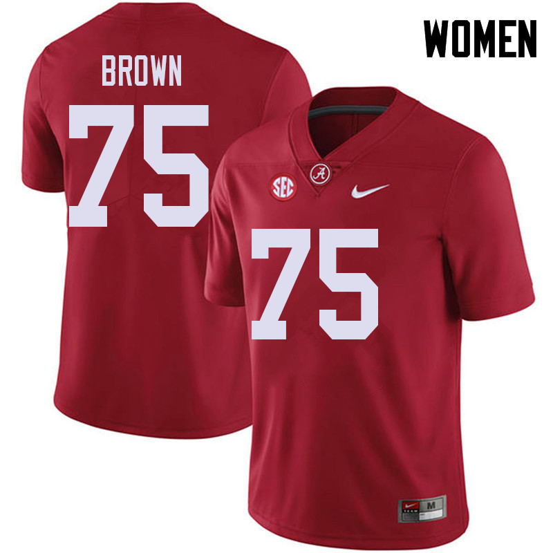 Women #75 Tommy Brown Alabama Crimson Tide College Football Jerseys Sale-Red