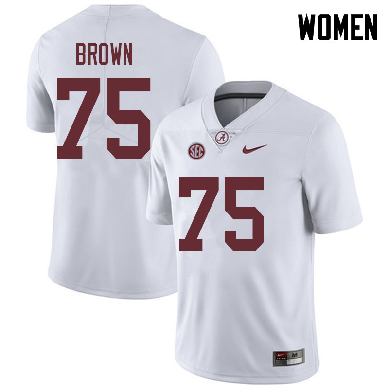 Women #75 Tommy Brown Alabama Crimson Tide College Football Jerseys Sale-White