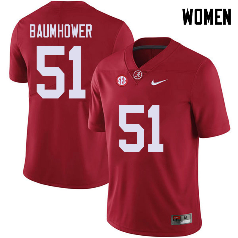 Women #51 Wes Baumhower Alabama Crimson Tide College Football Jerseys Sale-Red