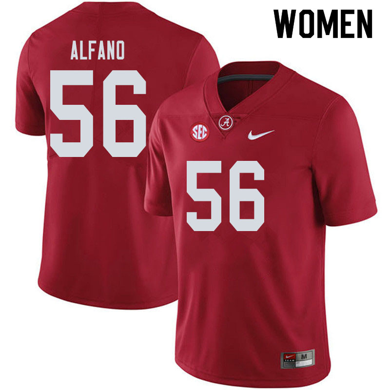 Women #56 Antonio Alfano Alabama Crimson Tide College Football Jerseys Sale-Crimson