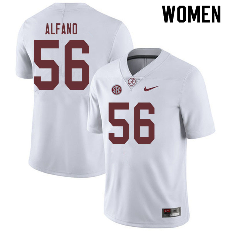 Women #56 Antonio Alfano Alabama Crimson Tide College Football Jerseys Sale-White