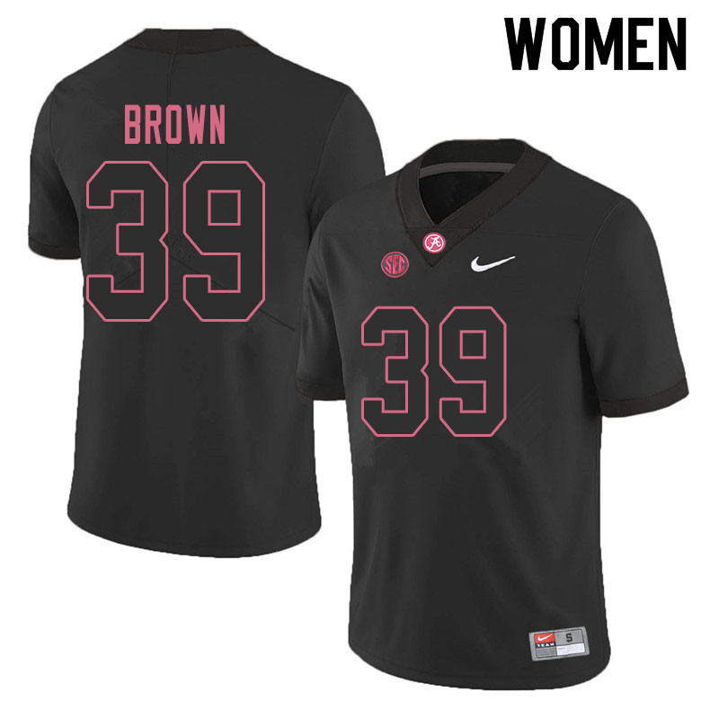 Women #39 Jahi Brown Alabama Crimson Tide College Football Jerseys Sale-Blackout