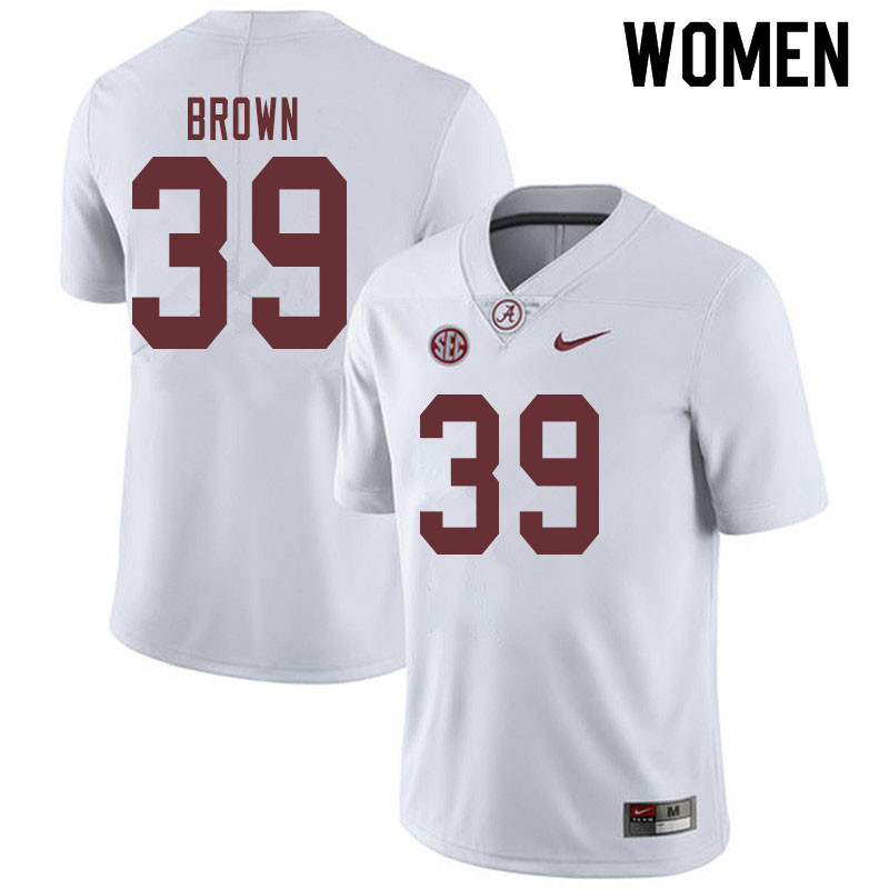Women #39 Jahi Brown Alabama Crimson Tide College Football Jerseys Sale-White