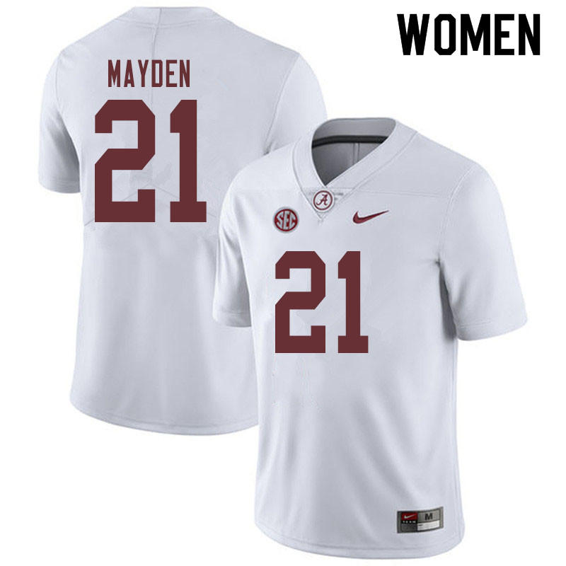 Women #21 Jared Mayden Alabama Crimson Tide College Football Jerseys Sale-White