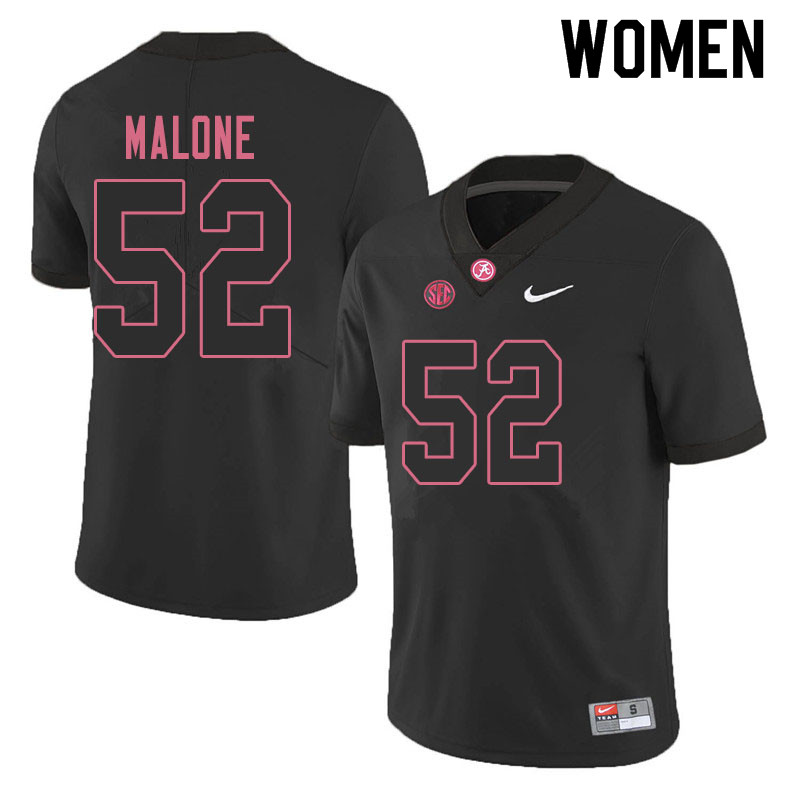 Women #52 Preston Malone Alabama Crimson Tide College Football Jerseys Sale-Blackout