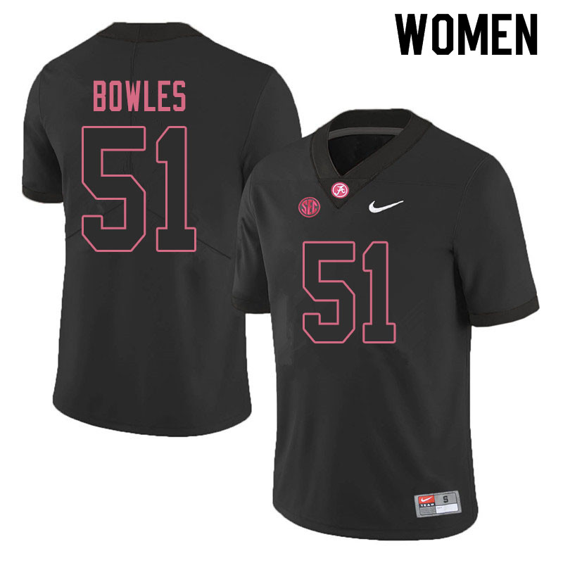 Women #51 Tanner Bowles Alabama Crimson Tide College Football Jerseys Sale-Blackout