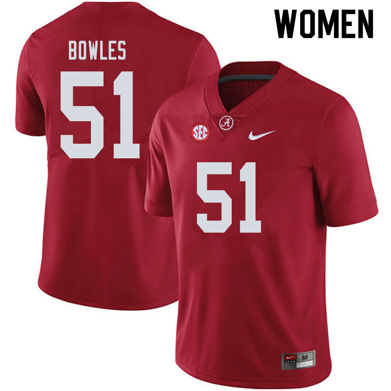 Women #51 Tanner Bowles Alabama Crimson Tide College Football Jerseys Sale-Crimson